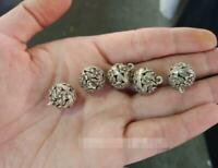 5pcs Antique Ming Qing Dynasty cupronickel flowers blooming rich hollow buttons
