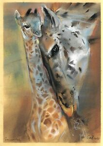 original drawing A4 125GZ art samovar Pastel modern animals giraffes Signed 2021