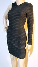 CUE size 12 one shoulder / sleeve bodycon stretch patterned DRESS with crop top