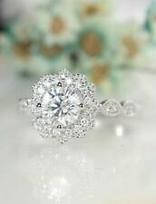 Ring 14K Solid White Gold 1.80Ct Brilliant Moissanite Vintage Halo Engagement