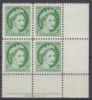 CANADA #338 2¢ Queen Elizabeth II Wilding Issue LR Plate #13 Block MNH