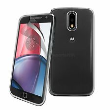 for Moto G4 Transparent Silicone Clear GEL Case Cover & Screen Guard