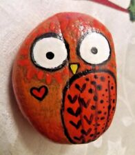 ORIGINAL Cute Owl Hand Painted Rock, ART Stone Orange and Red Owl Painting