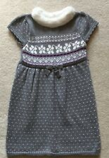 New Gymboree Girl's Size 5 Fair Isle Sparkle Faux Fur Trimmed Sweater Dress NWT
