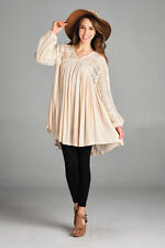 Velzera Boutique Long Boho Tunic Top BEIGE Size L