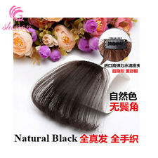 Women Real Human Hair Thin Neat Clip in Front Bangs Fringe Extensions Straight