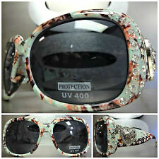 WESTERN Bling COWGIRL SUNGLASSES Green Camouflage Camo Frame Heart & Guns Concho