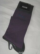 BNWT HUGO BOSS  Soft Cotton  Striped Socks Grey Mauve Maroon Size 7 - 8