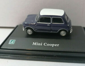 Mini Cooper saloon blue with White roof 1/72nd Scale Railway OO Gauge Vehicles