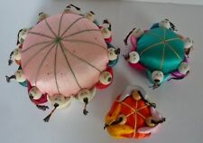 Lot Of 3 Vintage Oriental Style Pincushions Silk With Babies Around Edge