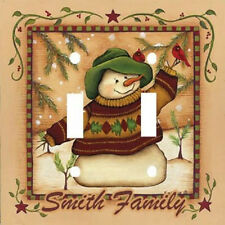 Personalized Primitive Snowman & Cardinals Holiday Light Switch Plate Cover