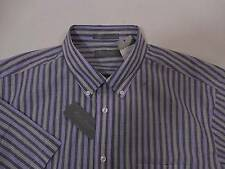 Daniel Cremieux Mens Button Down Dress Pocket Shirt Ink Blue Grey Striped XL $80