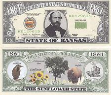 Two Kansas KS State Quarter Design Novelty Money Bills # 133