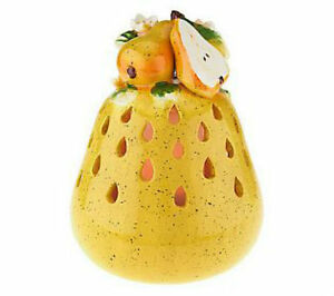 QVC Home Reflection Kitchen Decor Pear Fruit Flameless Candle Luminary w/ Timer