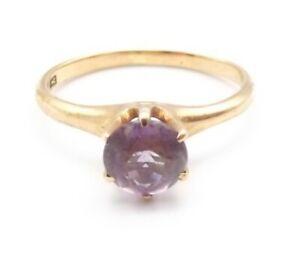 Vtg 10K Rose Gold Amethyst Ring Sz 5.5 Solitaire Cocktail February Birthstone