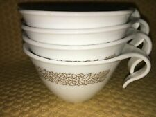 4 CORELLE Woodland Brown white cups ONLY vintage hook handle stacking retro 70s