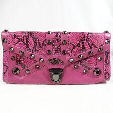 BETSY JOHNSON Large CLUTCH Pink Genuine Leather Snakeskin Print Gun Metal Studs