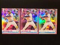 (3) 2019 Topps Chrome Ronald Acuna Jr. ROOKIE CUP 2 PINK + 1 REFRACTOR LOT OF 3