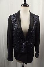 Elizabeth and James Womens Blazer Jacket 6 M Metallic Dress Top Glitter Blue