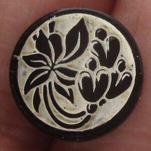 """5/8"""" Antique Black Glass Buttons w Enamel"""