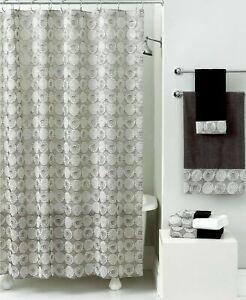 Avanti Galaxy Luxury Fabric Shower Curtain metallic Silver print  Retail $100