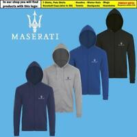Maserati Zip Hoodie EMBROIDERED Auto Car Logo Sweatshirt Hoody Mens Clothing