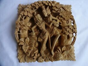 Beautiful Vintage Hand Carved Balinese Wooden Wall Hanging with Hanuman 24x23 cm