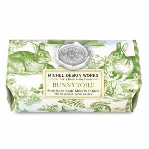 Michel Design Works Large 8.7 oz Artisanal Bar Bath Soap Bunny Toile - NEW