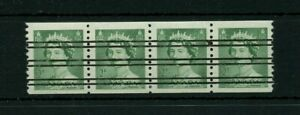 2 cent green Karsh iss fullgum PRECANCELLED Strip of 4 coils Cat $16 Canada used