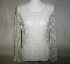 JOLT Long Sleeve Cream Crochet Embroidered Tulle Women's Top Shirt Blouse XS/S