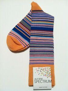 ALFANI MENS NEW ORANGE RAYON BLEND STRIPED DRESS SOCKS FIT SHOE SIZE: 7-12