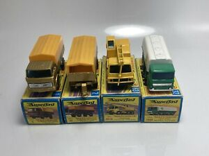 Matchbox Lesney Superfast Lot Of 4 #63 #32 #2 #1 Mercedes Truck Mint With Boxes!