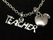"Teacher Word With Apple Charm Tibetan Silver 18"" Necklace BIN"