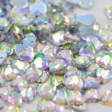 SALE! 50 pcs x Sew On 10 mm Acrylic Rhinestones Clear AB Color Heart Shape