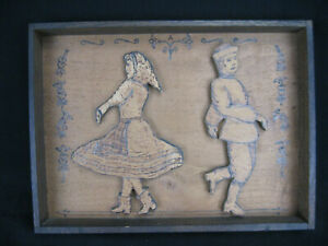 Vintage Depression Era Cigar Box Tramp Art Framed Russian Dancers