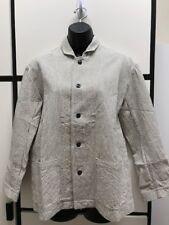 Veritecoeur OS Cotton Charcoal Tailored Striped Collar Jacket New UnWorn