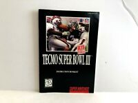 Tecmo Super Bowl III SNS-AW4E-USA Super Nintendo MANUAL ONLY Authentic Original