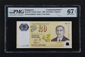 "2007 Singapore ""Commemorative"" 20 Dollars Pick#60a PMG 67 EPQ Superb Gem UNC"