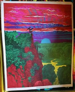SATAN OVERLOOKING PARADISE 1971 VINTAGE BLACKLIGHT NOS POSTER SUNSET MARKETING
