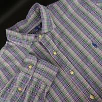 Mens Polo Ralph Lauren Green Plaid Oxford Golf Dress Shirt Size 2XL XXL Casual