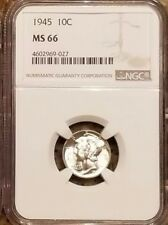 1945-P NGC Silver Mercury Dime MS66, 1 COINs, GEM, Double-eye appeal!
