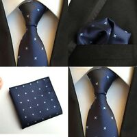 Men Flowers Grids Navy Blue Silk Tie Handkerchief Pocket Square Set Lot HZ111