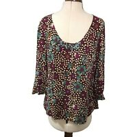 Boden Top Size 14 Floaty Long Sleeved Floral Pattern Multicoloured Beaded