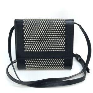 YVES SAINT LAURENT Studs Pochette Shoulder Bag Cross body Leather Black Silver