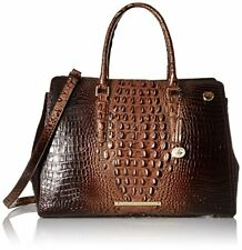 ❤️BRAHMIN FINLEY CARRYALL BRUNELLO BUSINESS WORK BAG CROC GOLD LEATHER COCOA❤️