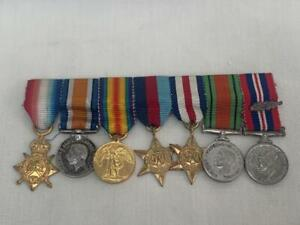 Fine WWI & II Dress Miniature Medal Group of Seven.