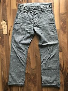 Pike Brothers Hunting Pant 1942 W30 L34 Grey Striped Linen