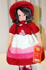 """Vintage 17"""" LENCI  DOLL IN RED  DRESS With  BONNET  No 972867"""