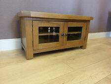 Kingsford Oak Small TV Cabinet with Glazed Doors - Solid Wood Television Cabinet
