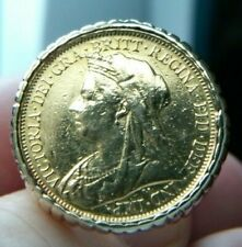 1899 Sovereign coin set in 14kt yellow gold ring size 12 1/2  #1773